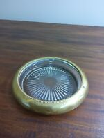 Vintage Clear Glass Ashtray With Brass Rim 5 1/2'' In Diameter MCM