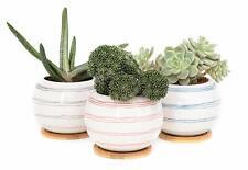 """Ceramic Round Planter 4.53/""""W X 4.72/""""H Outdoor Plant Pot Garden Flower Decoration"""