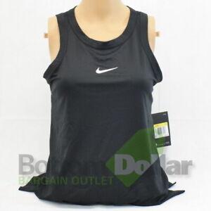 Nike 889079-010 Women's Dry Open Back Training Tank Top Black/ White