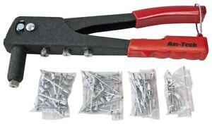 Heavy Duty 4 Head Nozzle Pop Rivet Gun Hand Riveter Tool 60 Blank Rivets