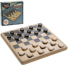 Retro Traditional Board Game Draughts Wooden Checkers Classic Family Kids Toy