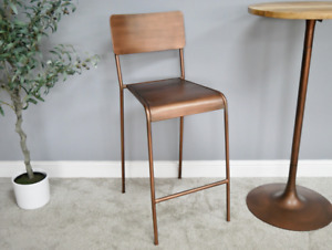 **CLEARANCE** RUSTIC INDUSTRIAL ANTIQUE COPPER METAL BAR STOOL (DX6312)