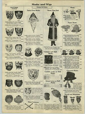 1929 PAPER AD Santa Claus Costume Suit Mask Wire Gauze Pirate