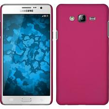 Coque Rigide Samsung Galaxy On7 - gommée rose chaud + films de protection