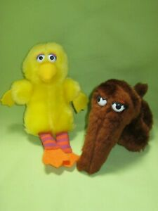 Applause VINTAGE 1980's Sesame Street BIG BIRD & SNUFFLEUPAGUS Mini PLUSH Set