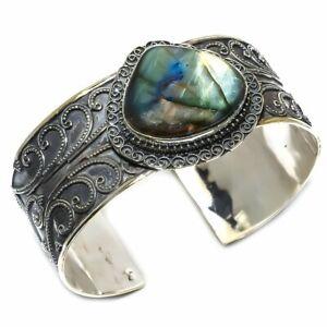 Labradorite - Canada Gemstone Ethnic Silver Jewelry Cuff Bracelet Adjust. KC1096