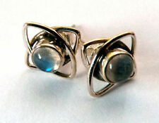 Butterfly Fastening Stud Natural Moonstone Fine Earrings