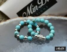 Stretch Bead Rings with Genuine Sterling Silver & Turquoise Magnesite.