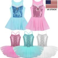 US Girls Kids Ballet Dress Gym Sequined Tutu Skirts Princess Dancewear Costumes