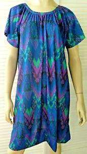 FOSSEYS vintage ladies size 18 dress mu mu house retro blue purple summer comfy