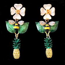 Handgefertigte Chandeliers mit Blüte, Biene, Blatt und Ananas, goldfarben