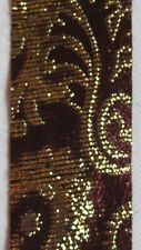 PRINCESS RIBBON-Imperial Tapestry-Paisley-Cranberry/Gold-Vintage-#9-5 Yards