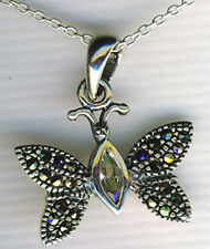 """925 Sterling Silver Marcasite & Cubic Zirconia Butterfly Pendant  on 18"""" Chain"""