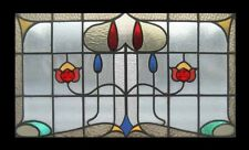 Edwardian Antique English Floral Stained Glass Window In Original Sash Frame