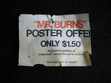 VTG 1973 Mr. Burns Poster Offer Unguentine Aerosol First Aid Coupon Pharmacy Rx