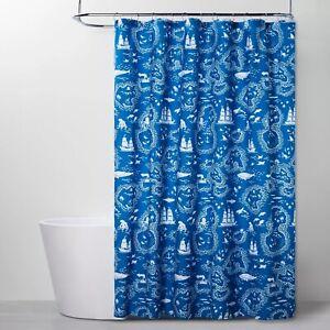 Treasure Map Shower Curtain - Pillowfort Aqua blue  new