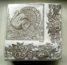 New in Pkg Spode Woodland Turkey Brown & White Paper Beverage Napkins 40 Ct