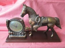 VINTAGE MID CENTURY GILBERT MANTLE HORSE SHELF CLOCK WITH BRONZE FINISH