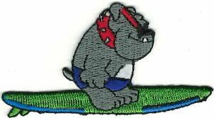 Bulldog on Surf Board Surfing Embroidery Patch