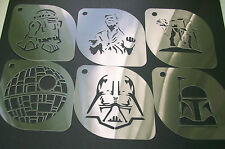 SW1 Set of 6pcs Star Wars R2-D2 AT-AT Han Boba Fett Vader Death Airbrush Stencil