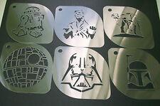 SW1 Set of 6pcs Star Wars R2-D2 AT-AT Han Boba Fett Vader Death Airbrush Stencil