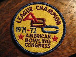 Bowler Jacket Patch - 1971 / 1972 American Bowling Congress ABC League Champion