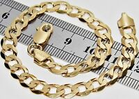 SOLID 9 CT YELLOW GOLD & SILVER 8.5 INCH CURB BRACELET