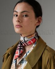 BURBERRY red & beige DISRUPTIVE CHECK skinny 2-sided Silk scarf NWT Authent $170