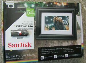 Polaroid 7 Digital Picture Black Frame OPEN BOX & USB Flash Drive 64GB (sealed)