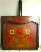 Decorative Hanging Wooden Dust Pan, Hand-Painted, PA Dutch Floral Design, Signed