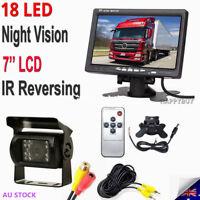 "New 7"" LCD Monitor Car Rear View Kit+ IR 18 LED Reversing Camera For Bus Truck"