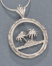 Silver Palm Tree Pendant, Palm Tree Necklace,Tropical Jewelry, ( # 884S )