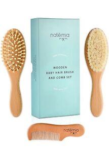 Natemia Premium Wooden Baby Hair Brush & Comb Gift Set Natural Soft Bristles 3pc