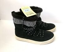Toms Alpine Suede Boots Winter Shoes Tribal Print Leather Faux Fur Booties NWT