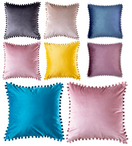 Pom Pom Cushion Covers Only Or with Inner Decor Pillow Cover Sofa Bed Car Solid