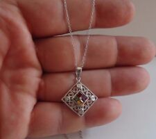 925 STERLING SILVER SQUARE FILIGREE MULTI-COLOR PENDANT NECKLACE/ 25MM BY 22MM