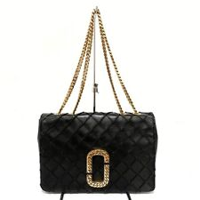 Auth MARC JACOBS The Status Black Gold Leather Hardware Shoulder Bag