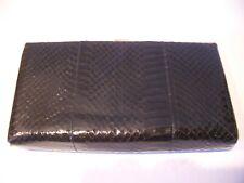 """Vintage 60's """"Shirl Miller Ltd"""" Brown Snakeskin Leather Gold Framed Clutch Bag"""