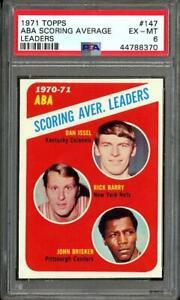 1971 Topps ABA Scoring Average Leaders Dan Issel Rick Barry John Brisker PSA 6