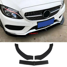 Front Bumper Lip For 2015-18 Benz C-Class W205 Sport DP Style Piano paint Black