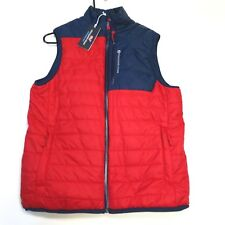 $185 Vineyard Vines Men's Grid Fleece Mtn Weekend Vest Size  XS Red/Blue NWT