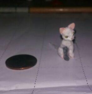 Ooak Micro Miniature dollhouse White and Grey Legged Cat 1:24 Scale