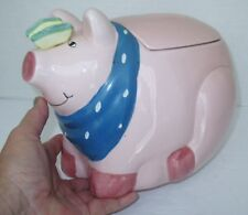 Coco Dowley PINK PIG COOKIE JAR by Certified International, Farm Animal Decor