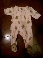 Preemie Baby Girls Sleeper Outfit,Pink w/Monkeys, Carters Child of Mine