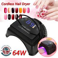 Pro 64W Cordless LED/UV Nail Lamp Gel Polish Dryer Rechargeable Salon Manicure