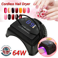 Gift Cordless Led/Uv Nail Lamp Gel Polish Dryer Rechargeable Salon Manicure 64W