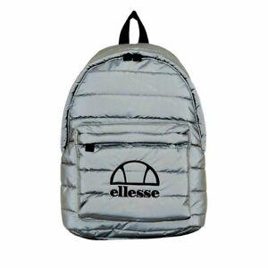ellesse Backpack Reflective Grey Naroni Rucksack School Casual Smart Work Bag