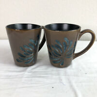 Pier 1 Blue Mum Coffee Tea Mugs Cups Brown Floral SET 2 Euc 8229001 DISCONTINUED
