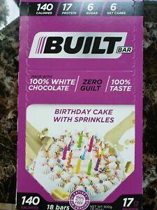 Built Bar White Chocolate Birthday Cake w/Sprinkles 18ct SEALED BOX Protein Bars