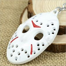 2016 White New Scary Friday the 13th Jason Mask Keyring Keychain